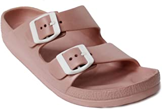 8d797d78637f0 H2K Women s Lightweight Comfort Soft Slides EVA Adjustable Double Buckle  Flat Sandals Buddy