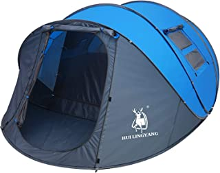 HUI LINGYANG 6 Person Easy Pop Up Tent-Automatic Setup, Double Layer - Instant Family Tents for Camping,Hiking & Traveling