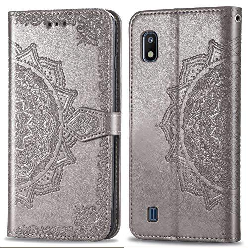 Bear Village Hülle für Galaxy A10 / Galaxy M10, PU Lederhülle Handyhülle für Samsung Galaxy A10 / Galaxy M10, Brieftasche Kratzfestes Magnet Handytasche mit Kartenfach, Grau