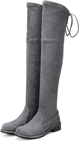 schuhe planos Stiefel a la rodilla Stiefel Stiefel planas con tubo alto elástico