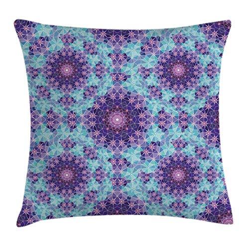 Fundas para Cojines Mosaico geométrico Fractal Signo del Universo Arte gráfico Funda de cojín con impresión clásica de algodón Suave poliéster 45*45cm