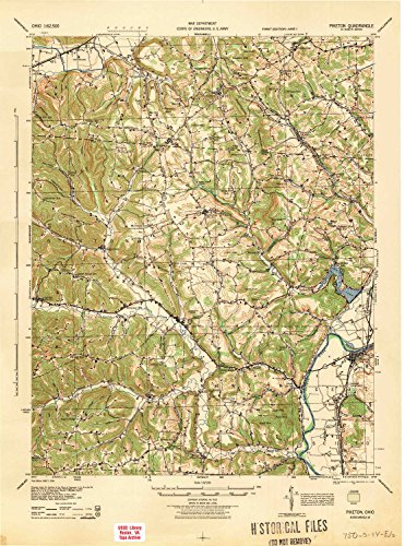 YellowMaps Piketon OH topo map, 1:62500 Scale, 15 X 15 Minute, Historical, 1944, 21.7 x 16.1 in - Polypropylene