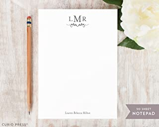 DOT MONOGRAM NOTEPAD - Personalized Elegant Formal Wedding Simple Stationery/Womens or Couple Stationary Note Pad