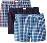 Tommy Hilfiger Men's Underwear 3 Pack Cotton Classics Woven Boxers, Red Plaid Logo Print/Blue Plaid, Small