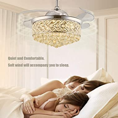 42 Inch Modern Chandelier Crystal Ceiling Fan with Light Remote Dimmable Fandelier Ceiling Fan Light Color Change 6 Speed Ret