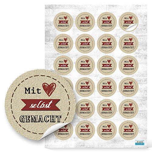 96 Stück kleine runde Mit HERZ selbstgemacht beige natur rot Kraftpapier Look Aufkleber selbstklebende Etiketten Sticker für give-away Geschenke Präsente Kunden...