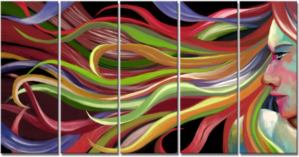 iKNOW FOTO 低廉 Large 5 Pieces Abstract Wall Pop Art ショップ Painti Woman