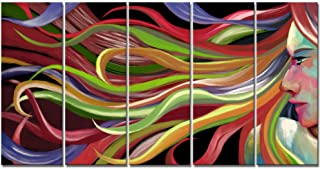 iKNOW FOTO Large 5 Pieces Abstract Pop Art Woman Wall Art Painting Printed on Canvas Print Hair Salon Decor Pictures for Living Room Bedroom Walls Decor 12x32inchx5pcs