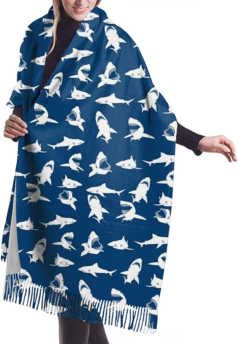White Shark Silhouettes Pattern Winter Scarf Cashmere Scarves Stylish Shawl Wraps Blanket