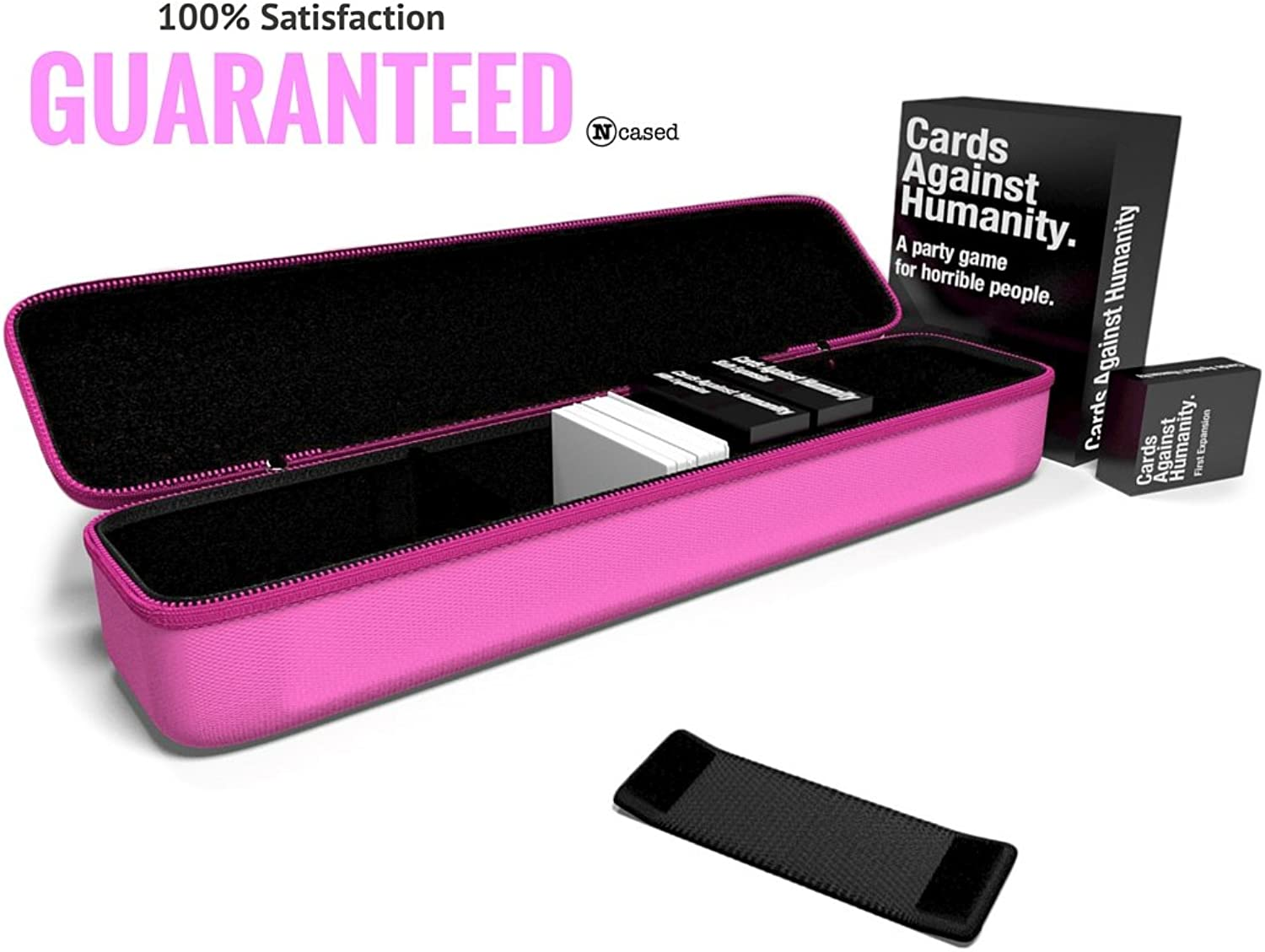 N Cased(TM) (Pink) Hard Case for C. A. H. Card Game, Large, Fits The Main Game + All 6 Expansions. Includes 5 Moveable Dividers. Fits About 1400 Cards.