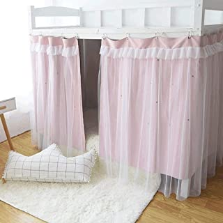 YFF-wz Cabin Bunk Bed Tent Curtain Cloth Dormitory Mid-Sleeper Bed Canopy Spread Blackout Curtains Dustproof Mosquito Protection Screen Net(Size:1.2mx2m/1.5mx2m) (Color : Pink, Size : 1.2m)