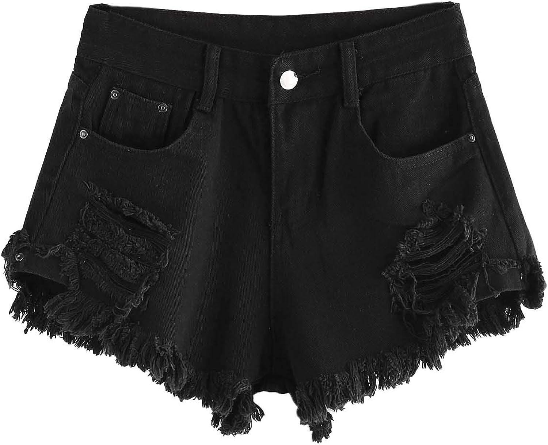 WDIRARA Women's High Waisted Raw Hem Distressed Ripped Casual Denim Shorts