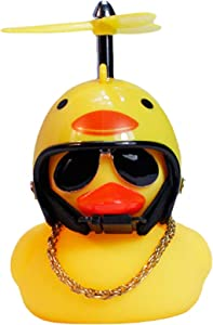 Rubber Duck Cute Yellow Wind-Breaking Duck with Propeller Helmet,Car Ornaments Car Dashboard Decorations for Adults, Kids(Chicken)