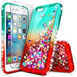 NageBee iPhone 6S Case, iPhone 6 Case with Tempered Glass Screen Protector for Girls Women Kids, Glitter Liquid Sparkle Bling Floating Waterfall Diamond Christmas Cute Case -Teal/Candy