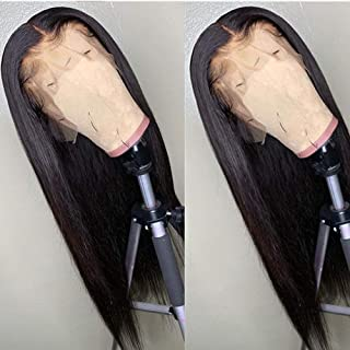 BEEOS 9A 360 Lace Frontal Straight Wig with Baby Hair,150% Density Pre Plucked and Bleached Knots Natural Hairline,Brazilian Virgin Remy Human Hair Wigs(24 Inch)