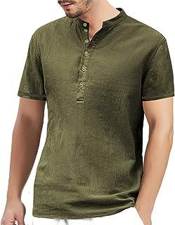 Mens Linen Cotton Collarless Henley T-Shirts Baggy Grandad Shirts Lightweight Button Neck Summer Lounge Tops Long/Short/Th...