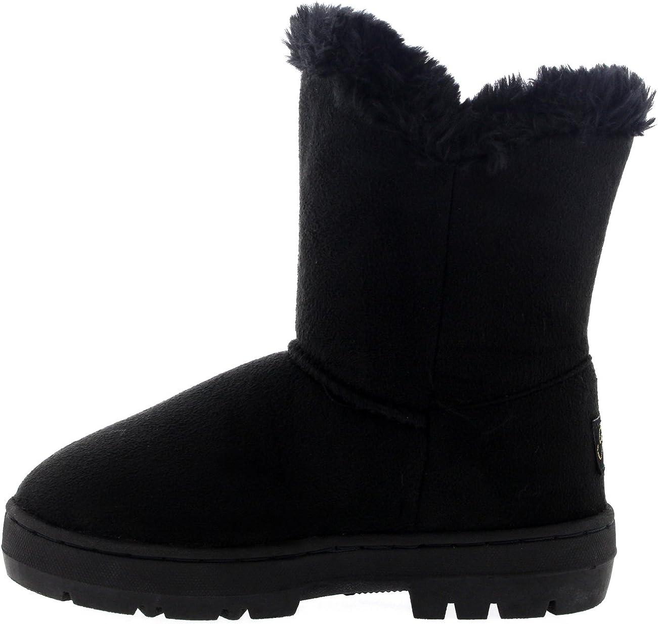 Kids Girls Button Winter Snow Rain Cosy Casual Warm Boots