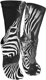 靴下 抗菌防臭 ソックス ゼブラアスレチックスポーツソックス、旅行&フライトソックス、塗装アートファニーソックス30 cmロングソックス