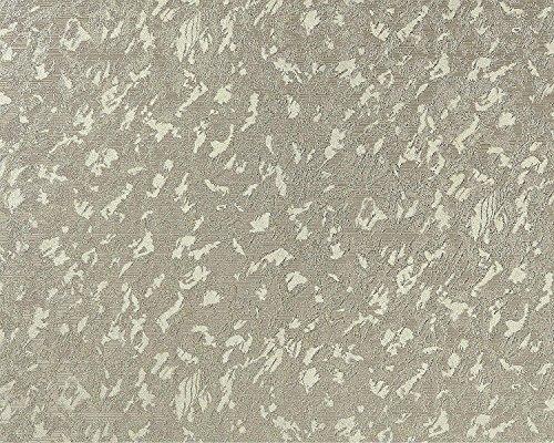 Uni kleuren behang EDEM 9011-38 vliesbehang gestempeld in spachtelputz look glimmend grijs groen zilver 10,65 m2