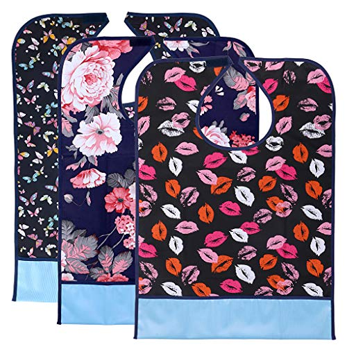 BTSKY 3Pcs wasserdicht wiederverwendbare Erwachsenen Lätzchen - waschbar Mealtime Protector Lätzchen Kleidung Protector mit Crumb Catcher (Blume + Lippe + Schmetterling)