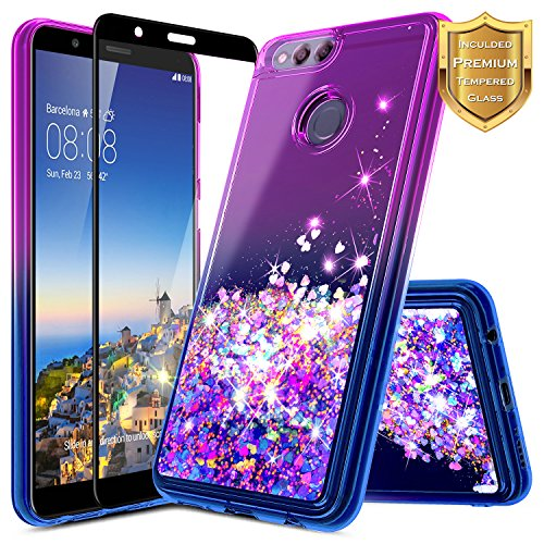 NageBee Case Compatible with Huawei Honor 7X / Huawei Mate SE w/[Full Coverage Tempered Glass Screen Protector] Glitter Liquid Quicksand Waterfall Flowing Sparkle Diamond Girls Cute Case -Purple/Blue