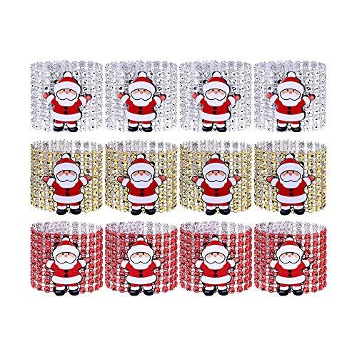 EOPER 12 piezas de servilleteros de cristal de Santa Claus con diamantes de imitación para decoración de mesa de...