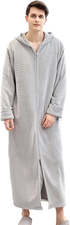 Men's Flannel Plus Size Thickend Homewear Fleece Zipper Hooded Bathrobe Nightgown