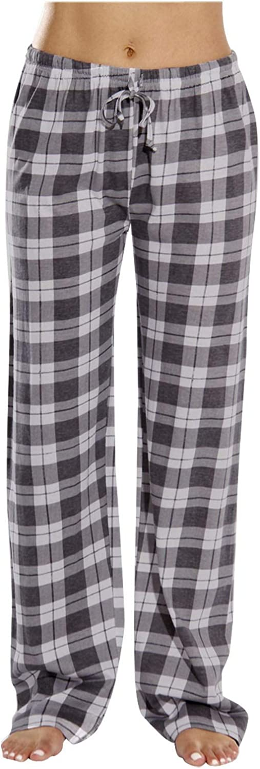 NREALY Women's Popular popular Plaid Sleep Manufacturer regenerated product Home Loose Comfortabl Trousers Casual