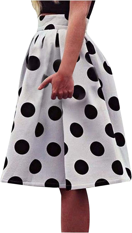 NAries Women Casual Polka Dot Printing Umbrella Skirt Retro Puff Skirts Short Skirts S-XL