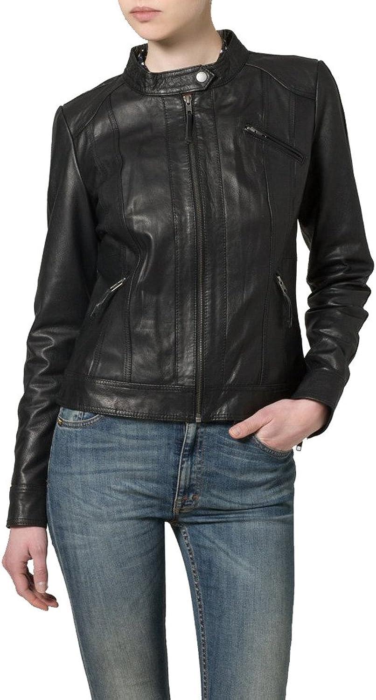 Womens Leather Biker Motorcycle Coat Slim Fit Jackets LTW036