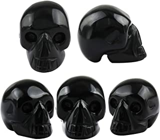 SUNYIK Black Obsidian Carving Skull Stone Pocket Statue Figurine Decor 1