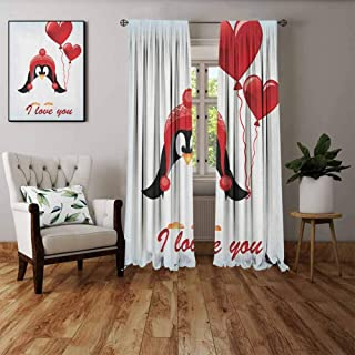 FOEYESEE Bedroom Curtains Valentines Happy Birthday Balloons I Love You Lettering Cute Funny Penguin Image Red Black Baby Blue Boys Girls Bedroom Dorm W55 xL63