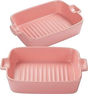 Bakeware Set Rectangular Baking Pan Ceramic Glaze Baking Dish for Cooking, Kitchen, Cake Dinner.Banquet and Daily Use, 2 P...