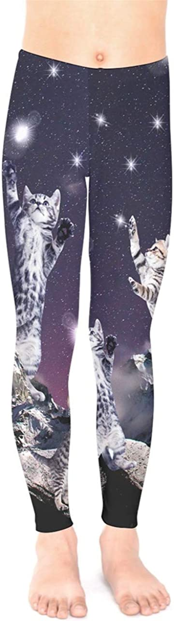 PattyCandy Space Galaxy Digital Printed Tights Alien Kitty Cats Unisex Little & Big Kids Stretchy Leggings