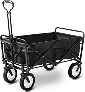 80KG Capacity Folding Camping Cart, Utility Outdoor Garden Cart Push Wagon Trolley with Universal Wheels & Adjustable Hand...
