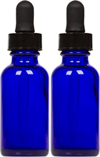 Cobalt Glass Bottles with Eye Droppers (2 oz, 2 pk) For Essential Oils, Colognes & Perfumes, Highest Quality, Blank Labels Included