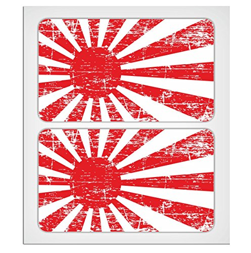 MioVespa Collection, 2 adhesivos laminados de 70 mm, calcomania, estilo envejecido, diseño de bandera japonesa imperial