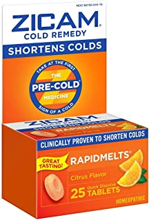 Zicam Cold Remedy Citrus RapidMelts, 25 Quick Dissolve Tablets, Clinically Proven to Shorten Colds When Taken at the First...
