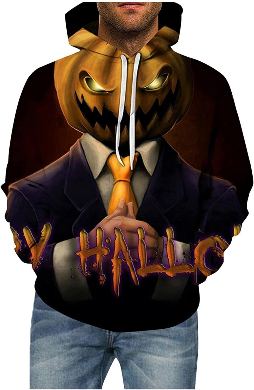 Aayomet Men's Hoodies Evil Pumpkin Printed Halloween T-Shirts Long Sleeve with Pocket Casual Pullover Sweatshirts