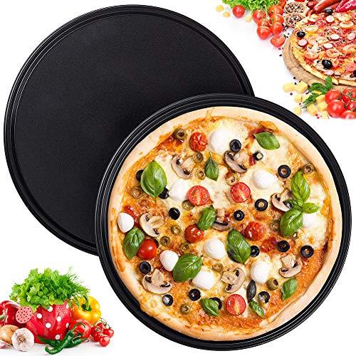 WENTS Plaques Rondes de Pizza Lot de 2 Plateaux 10 Pouces Multi-usages à Pizza Ronds en Acier Inoxydable pour Four à Pizza Rondes Revêtement Anti-adhérent 26cm