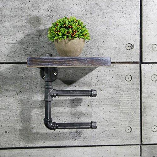 MEIDUO Étagères Tuyau d'eau Porte-serviettes en papier Tenture murale Étagère Salle de bains en fer forgé très durable