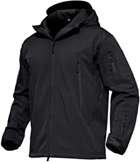MAGCOMSEN Men's Hooded Tactical Jacket Water Resistant Soft Shell Fall Winter Coat