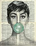 Audrey Hepburn Blue Bubble Gum Posters And Prints on Canvas Black And White Wall Art Canvas Painting Without Frame (40X50cm)