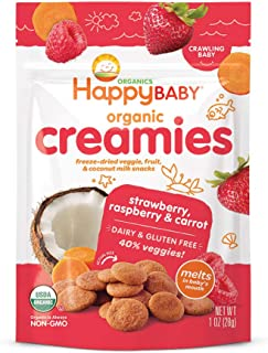 Happy Baby Organic Creamies Freeze-Dried Veggie & Fruit Snacks with Coconut Milk Strawberry Raspberry & Carrot, 1 Ounce Ba...