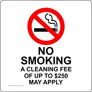 No Smoking Cleaning Fee of Up to $250 May Apply Label Decal, 3x3 inch 4-Pack Clear Vinyl for No Smoking Transportation by ComplianceSigns