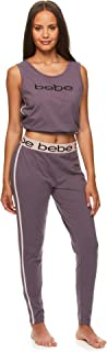 bebe Womens Cropped Tank Top and Skinny Pajama Pants Lounge Sleepwear Set
