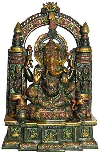 Idol Kollektionen Große Tempel Ganesha Statue, Messing, Mehrfarbig, 23.37X 23.37X 76,2cm