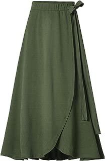 Womens Fashion Bow-Knot Flare Skirt Elastic High Waist Spring Fall Midi A-Line Knit Skirts