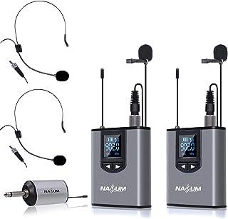 سیستم میکروفن بی سیم Lapel - میکروفون بی سیم NASUM Dual Wireless Lavalier برای آیفون ، دوربین DSLR ، یوتیوب ، پادکست ، کنفرانس ، Vlog ، کلیسا ، مصاحبه ، آموزش ، بلندگوی PA ، ضبط ویدئو