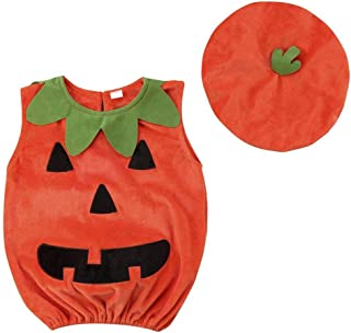Wiswell Infant Baby Girls Boys Halloween Costumes Pumpkin Bodysuit Sleeveless Ruffled Romper Outfits with Hat